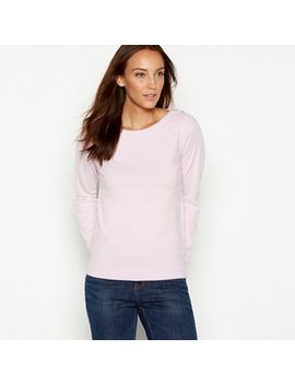 Maine New England   Light Pink Textured Stripe Crew Neck Jumper by Maine New England