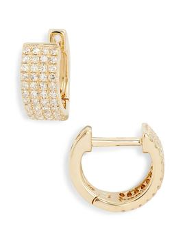 Jumbo Diamond Huggie Earrings by Ef Collection