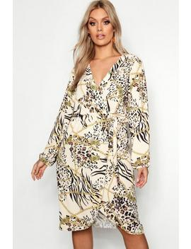 Plus Leopard Chain Wrap Front Dress by Boohoo
