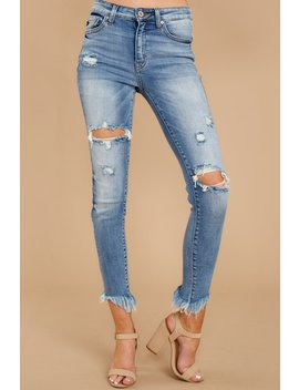 Have To Leave Medium Wash Distressed Skinny Jeans by Kan Can Premier