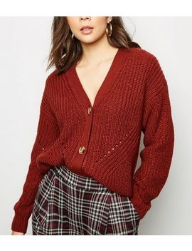 Rust Chunky Pointelle Knit Cardigan by New Look