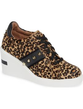 Kesha Ii Studded Genuine Calf Hair Wedge Sneaker by Linea Paolo
