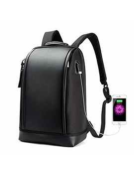 Bopai Business 15.6 Inch Laptop Backpack Invisible Water Bottle Pocket Anti Theft Laptop Rucksack Usb Charging Port And Anti Explosion Zipper Water Resistant Travel Anti Thief Men Backpack, Black by Bopai