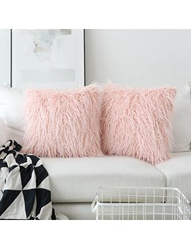 Home Decorative Super Soft Plush Mongolian Faux Fur Euro Sham Throw Pillow Covers Large Square Pillowcases For Couch, Set Of 2 (24 X 24 Inch, Pink) by Home Brilliant