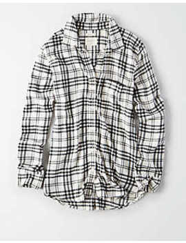 Ae Ahhmazinlgy Soft Plaid Boyfriend Button Down by American Eagle Outfitters