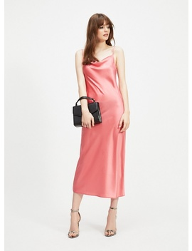 Coral Cowl Neck Midi Slip Dress by Miss Selfridge