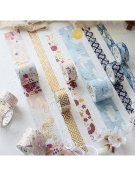 3 Meters Japanese Style Hot Foiled Washi Tape Washi Tape | 15mm*3m*2+30mm*3m*1mm Wide | Multiple Types | Adhesive Craft Tape | Ks Rt 126 by Etsy