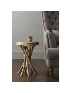 The Curated Nomad Macondry Brown Teakwood Accent Table by The Curated Nomad
