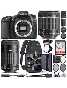 Canon Eos 80 D Dslr Camera With Ef S 18 55mm F/3.5 5.6 Is Stm + Ef S 55 250mm F/4 5.6 Is Stm Lens W/Advanced Photo & Travel Bundle by Canon