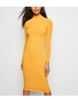 Mustard High Neck Ribbed Midi Dress by New Look