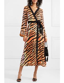 Gigi Tiger Print Sequined Chiffon Wrap Dress by Rixo