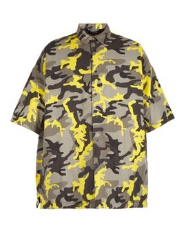 Camouflage Print Padded Shirt by Balenciaga