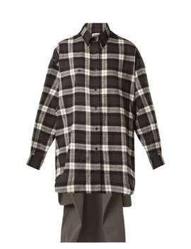 Sweatshirt Detail Checked Cotton Shirt by Balenciaga