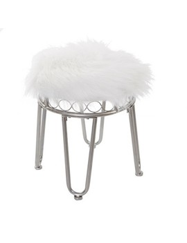 Hannah Vanity Stool With Hairpin Legs Nickel   Silverwood by Silverwood