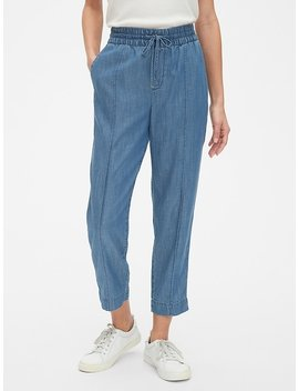 Pintuck Denim Drawstring Pants In Tencel™ by Gap
