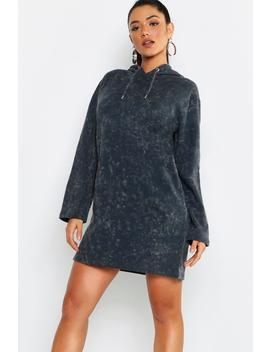 Hooded Oversized Acid Wash Sweatshirt Dress by Boohoo