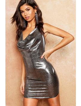 Metallic Cowl Halter Mini Dress by Boohoo