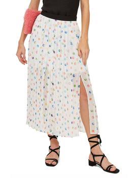 Polka Dot Pleated Midi Skirt by Topshop