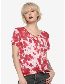 Red Bleach Wash V Neck Tie Front Girls T Shirt by Hot Topic
