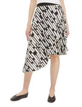 Cut Stripe Asymmetrical Skirt by Topshop
