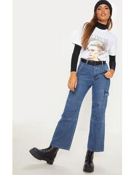 Dark Wash Contrast Stitch Cropped Wide Leg Cargo Jean by Prettylittlething