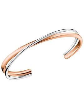 Calvin Klein   Silver And Rose Gold 'double' Open Bangle by Calvin Klein