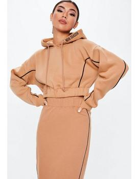 Camel Piping Detail Cropped Hoodie by Missguided