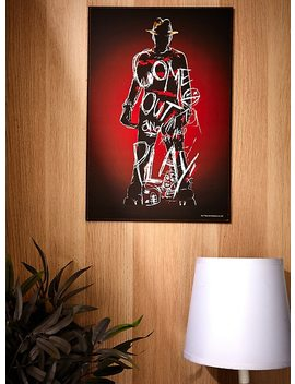 A Nightmare On Elm Street Freddy Krueger Come Out And Play Wood Wall Poster by Hot Topic