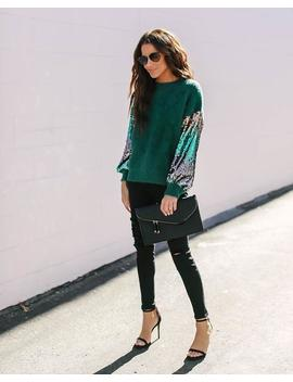 Tannenbaum Contrast Sequin + Knit Sweater by Vici