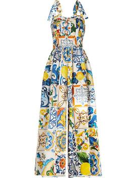Bedruckter Jumpsuit Aus Baumwollpopeline Mit Falten by Dolce & Gabbana