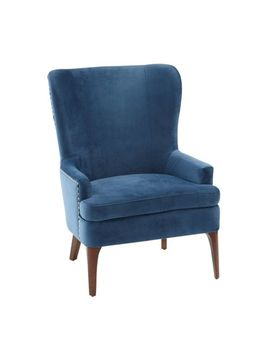 Navy Velvet Wing Chair by Asher Collection