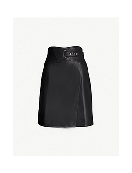 Belted Leather Wrap Skirt by Karen Millen