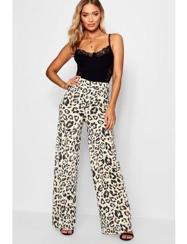 Leopard Print Slinky Wide Leg Trouser by Boohoo