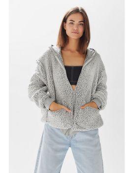 Uo Brea Fleece Hooded Zip Up Jacket by Urban Outfitters