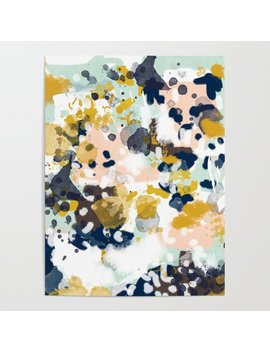 Sloane   Abstract Painting In Modern Fresh Colors Navy, Mint, Blush, Cream, White, And Gold Poster by