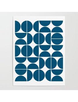 Mid Century Modern Geometric 04 Blue Poster by