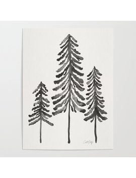 Pine Trees – Black Ink Poster by