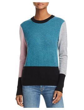 Color Block Cashmere Crewneck Sweater   100 Percents Exclusive by Aqua Cashmere