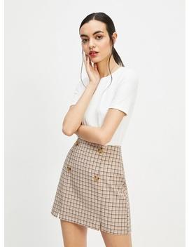 Blush Check Print Button Mini Skirt by Miss Selfridge