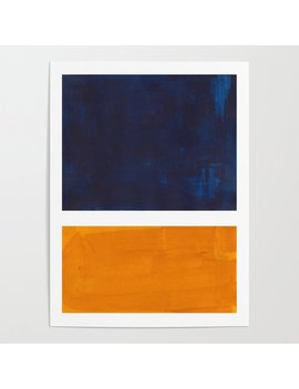 Navy Blue Yellow Ochre Abstract Minimalist Rothko Colorful Mid Century Color Block Pattern Poster by