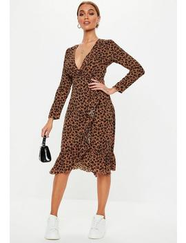 Petite Brown Leopard Print Midi Dress by Missguided