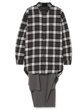 Oversized Checked Flannel And Jersey Hybrid Top by Balenciaga