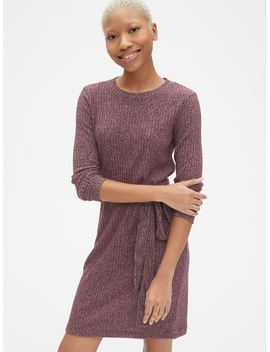 Softspun Ribbed Long Sleeve Tie Waist Dress by Gap