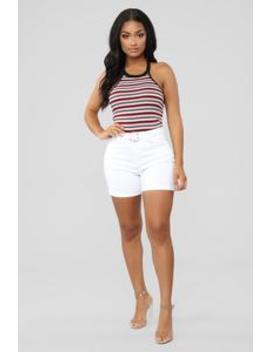 Loving Life High Rise Shorts    White by Fashion Nova
