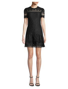 Multimedia Threaded Mesh Mini Ruffle Dress by Neiman Marcus