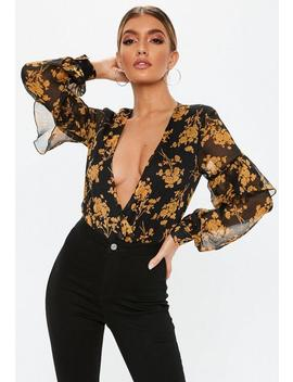 Black Floral Wrap Front Ruffle Sleeve Bodysuit by Missguided