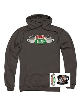 Popfunk Friends Tv Central Perk & Cast Pullover Hoodie Sweatshirt & Stickers Charcoal by Popfunk
