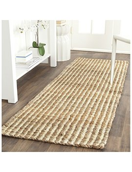 "Safavieh Natural Fiber Collection Nf734 A Hand Woven Natural And Ivory Jute Runner (2'3"" X 9') by Safavieh"