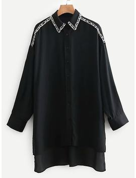 Pearl Beaded Dip Hem Blouse by Sheinside