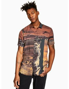 Brown Digital Print Slim Shirt by Topman